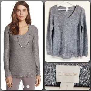 CHICO'S Gray with Silver Sequin V-Neck Sweater